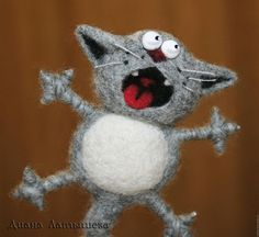 felted cat tutorial in Russian just use Google translator. This is just so funny and wonderfully done - Antonio