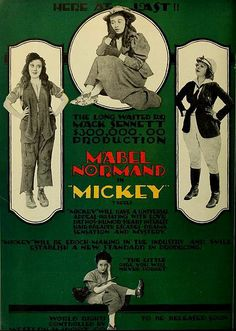 Mabel Normand as Mickey directed by Mack Sennett Old Movie Posters, Film Posters, Old Movies, Vintage Movies, Charles Spencer Chaplin, Silent Film Stars, History Projects, Screenwriting, Classic Movies