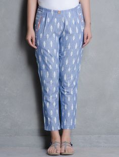 Buy Blue Ikat Cotton Pleated Slim Pants by Indian August Apparel & Skirts Online at Jaypore.com