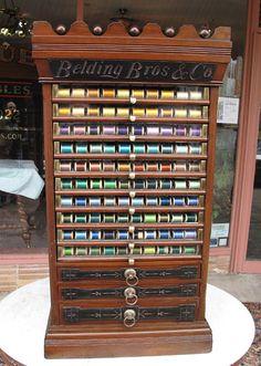 Rare Belding Brothers Walnut Spool Cabinet - 13 Drawers