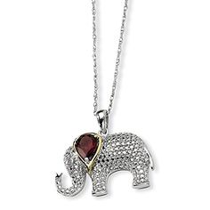 Sterling SIlver 0905ct  14K Yellow GoldPlated 17in Garnet  Diamond Elephant Necklace Color HI Clarity SI2I1 ** Check out the image by visiting the link.
