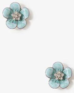 F21 - sparkling swirl flower earrings (blue)