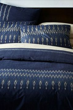 West Elm Organic Indigo Ikat Stripe Duvet Cover & Shams, $24 - $199, available at West Elm.