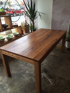 Rustic Farmhouse Recycle Timber Dining Table With Straight Leg And Shadow Cut