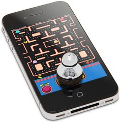iPhone Arcade Joystick  If you have large fingers or just want to improve your precision, attach a Joystick-It Arcade Stick ($18) to your iPhone. It doesn't require batteries and it works with thousands of different game apps — just press it over the on-screen control panel to activate it.