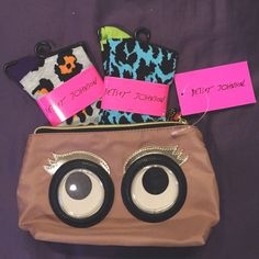 """Betsey Johnson Bundle NWT. Brand is Betsey Johnson. Price neg. Originally purchased for a gift but didn't end up gifting it. Super cute makeup pouch & two pairs of socks. Owl has wobbly eyes.   No trades or lowballing.   Bundle & save.  ✅ Reasonable offers considered, use """"offer"""" button or comment.   Same or next day shipping depending on time order is placed.  Free gift with purchase. Betsey Johnson Accessories"""