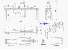 Shaving horse plan - Assembly 2D drawing (Variant 1)