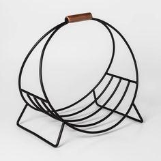 X Metal Log Holder Black - Project : Target Log Holder Fireplace, Fireplace Logs, Fireplace Tv Stand, Modern Fireplace, Firewood Holder Indoor, Indoor Log Holder, Mid Century House, Metal Furniture, Leather Handle