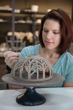 Annie Quigley of Quigley Ceramics carving a Pendant Lamp Shade                                                                                                                                                                                 Mais