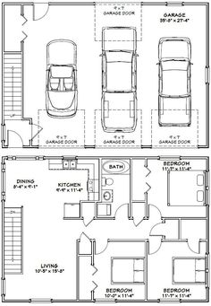 40x28 3-Car Garage -- #40X28G9 -- 1,146 sq ft - Excellent Floor ...