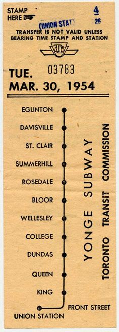 Vintage TTC Transfer from 1954 in Toronto, Canada Retro Photography, Street Photography, Wellesley College, Toronto Street, Canadian Things, Toronto Ontario Canada, Buffalo New York, Canada Eh, The Good Old Days