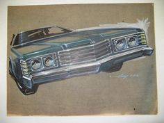 18 X 24. Brown canson paper. Blue green Ford LTD front end/grill; prismacolor, ink & gouache; Original signed Gump (3-29-72).