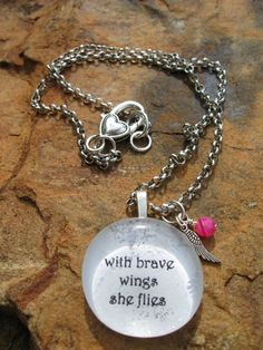 Brave Wings  Breast Cancer Awareness Necklace by fleurdesignz, $18.00