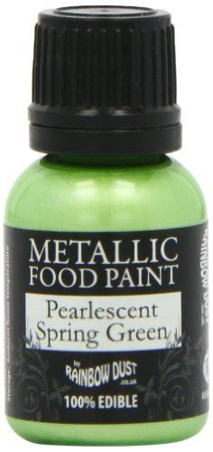 Rainbow Dust Metallic Paint Pearlescent Spring Green *** Details can be found by clicking on the image. (This is an affiliate link) Decorating Tools, Cake Decorating, Edible Paint, Soy Lecithin, Greens Recipe, Chocolate Covered Strawberries, Spring Green, Metallic Paint, Food Coloring