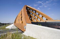 Very chunky wooden viaduct bridge, Sneek, Netherlands