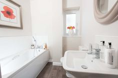 Grey, pink and white bathroom, new home, 4 bedroom townhouse.