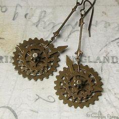 Steampunk Watch Gears Antique Brass Victoriana Style Earrings. $22.00, via Etsy.