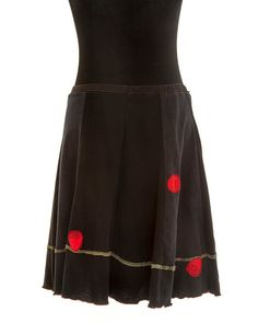 Upcycled recycled appliqué black tshirt skirt by sardineclothing
