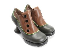 Whether you are looking for casual shoes or vintage high heels, Fluevog women's shoes are more than a fashion statement. Tap Shoes, Me Too Shoes, Dance Shoes, Vintage High Heels, John Fluevog, Unique Shoes, Modern Outfits, Shoe Shop, Green And Brown