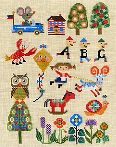 I'm getting a Richard Scarry vibe from this. Wonder if there's a Lowly Worm x-stitch pattern somewhere...or maybe I should just do one up.