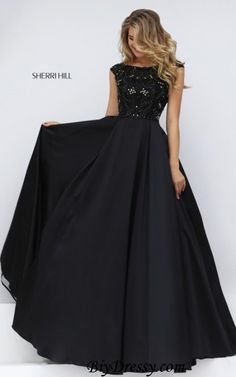 2016 Sherri Hill 32359 Black A Line Beaded Prom Dress