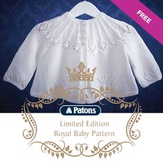 Patons Royal Baby Matinee Coat Free Knitting Pattern