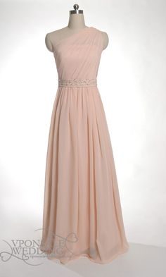 Peach Long Bridesmaid Dresses with Illusion Neckline DVW0142 | VPonsale Wedding Custom Dresses