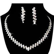 Bridal Wedding Pageant Jewelry Rhinestone Necklace Earring Set