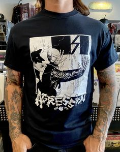 Agression Cop Shirt Band Shirts, White Ink, Mens Tops, Cotton, Black, Products, Fashion, Moda, Black People