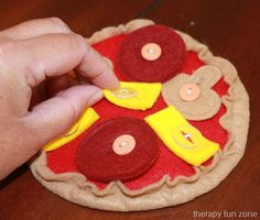 """Pizza """"button food"""" - looks pretty simple to make your own too! Bug Activities, Occupational Therapy Activities, Prop Box, Food Therapy, Pediatric Ot, Felt Quiet Books, Felt Food, Ag Dolls, Imaginative Play"""