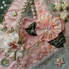 I ❤ crazy quilting & ribbon embroidery . . . Lisa's work on Carolyn's Pansy DYB Block, originally uploaded by ivoryblushroses.