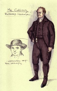 Mr Collins, Costume Design Sketch, Jane Austen Movies, Fashion Illustration Sketches, Movie Costumes, Pride And Prejudice, I Love Books, Les Oeuvres, Fan Art