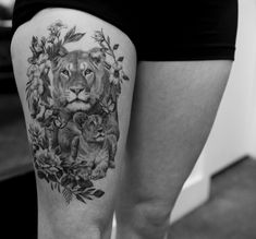 90 Tiger and Lion Tattoos That Define Perfection - Page 3 of 9 - Straight Blaste. - 90 Tiger and Lion Tattoos That Define Perfection – Page 3 of 9 – Straight Blasted – – - Lioness And Cub Tattoo, Lion Cub Tattoo, Cubs Tattoo, Lion Tattoo On Thigh, Lioness And Cubs, Mama Tattoos, Family Tattoos, Body Art Tattoos, Sleeve Tattoos