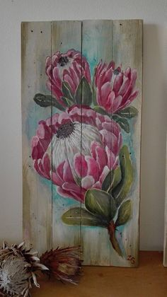 Protea Art, Botanical Wall Art, Pallet Art, Ink Drawings, Flower Art, Art Flowers, Art Oil, Wood Art, Watercolor Art