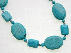 Flat Oval Turquoise Bead Natural Stone Necklace [T0343] - $16.99 ...