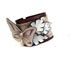 Jewelry bracelet Leather bracelet with butterfly by julishland, $20.00