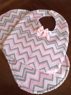 Pink Chevron Baby Bib and Burp Cloth Set by DazzlingCinsations, $13.00