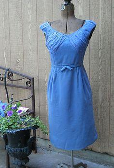 VINTAGE 1950's BLUE WOOL & RUCHED CHIFFON BOMBSHELL WIGGLE DRESS W/ JACKET  M