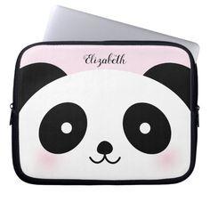 Kawaii Cute Cartoon Panda Bear Custom Name Pink Laptop Sleeve Cartoon Panda, Cute Cartoon, Neoprene Laptop Sleeve, Laptop Sleeves, Teapot Design, Pink Laptop, Technology Gifts, Computer Sleeve, Custom Laptop