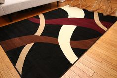 Generations Brand New Contemporary Modern Wavy Circles Area Rug, 4' x 6', Black * Special offer just for you. : Area Rugs, Runners Pads
