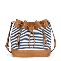 Mini bucket bag with a navy stripe canvas print and fun braided zipper pulls