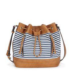 Mini bucket bag with a navy stripe canvas print and fun braided zipper pulls