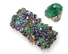 EMERALD AND SAPPHIRE BRACELET AND JADE RING, ANDREW GRIMA