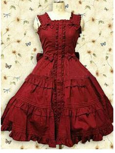 Custom Made Cotton Red Ruffle Sweet Lolita Dress Costume Free Shipping