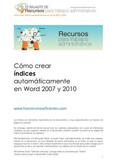 ómo crear índices automáticamente en Word 2007 y 2010 by Funcionarios Eficientes via slideshare
