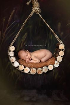 Image of Rustic Log Tear Drop Hammock, Newborn Organic Photography Prop (a Woodsy Wonders Original!)