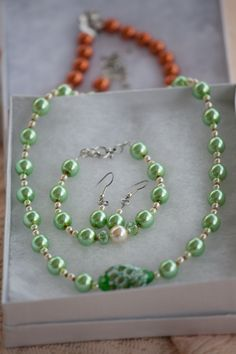 This lovely green set was made out of pearls.