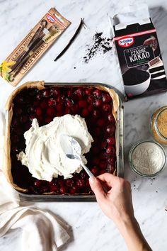 Kostka Wiśniowa - przepis Marty Avocado Hummus, Kakao, Recipies, Dessert Recipes, Ice Cream, Sweets, Baking, Birthday Cakes, Food