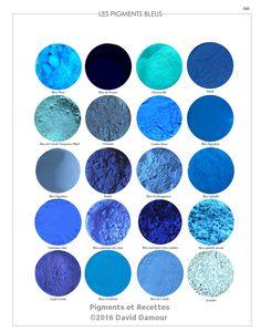 Les pigments bleus du livre Pigments et Recettes Les secrets du métier de l'artiste peintre du XXIe