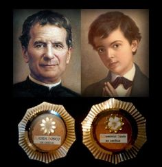 Relics of Saint John Bosco & Saint Dominic Savio -( wow I would love to see those relics someday)